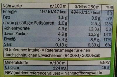 Frische fettarme Milch - Nutrition facts