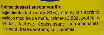 Crème Dessert saveur Vanille - Ingrediënten