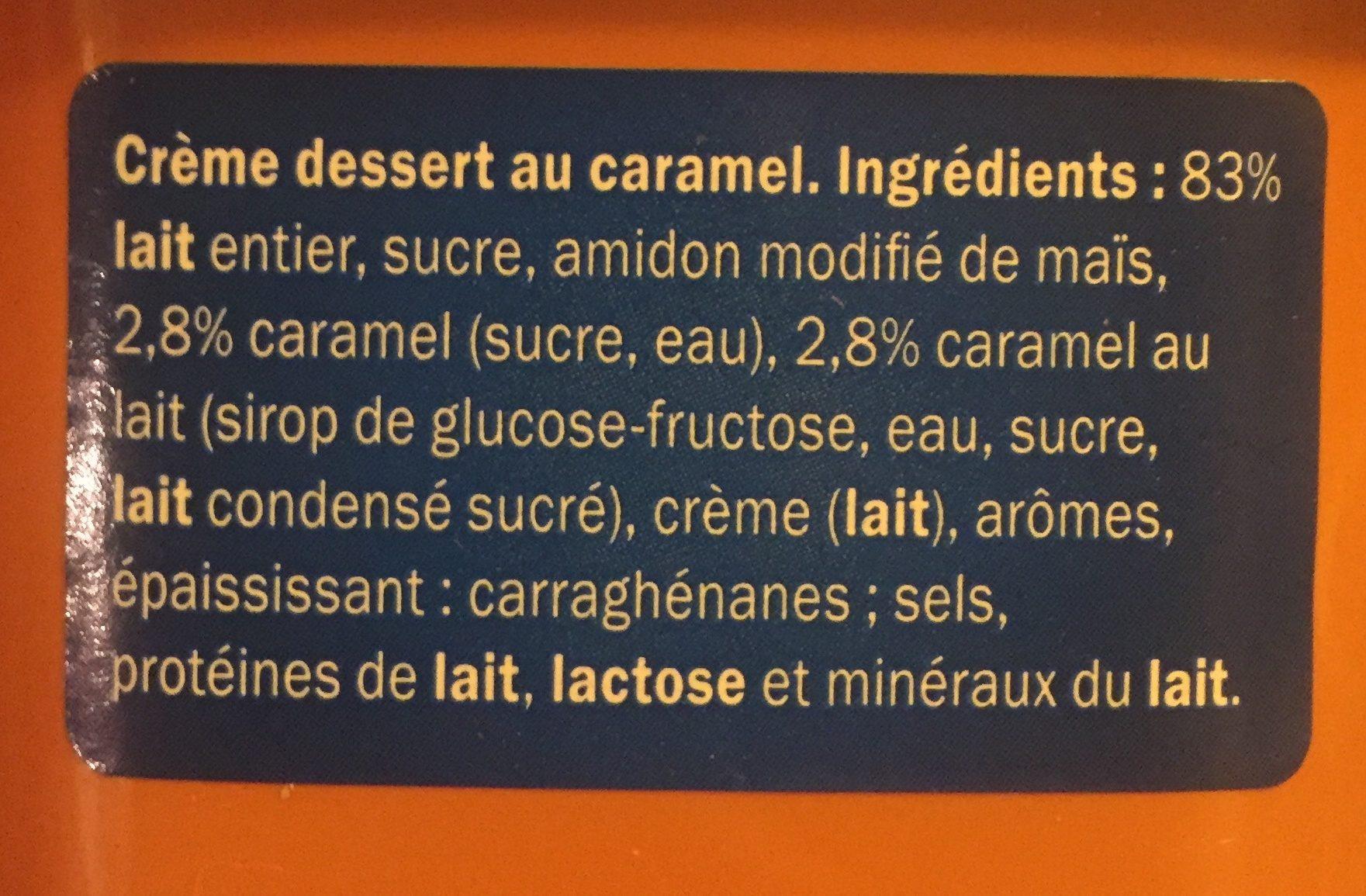 Crème dessert caramel - Ingrédients