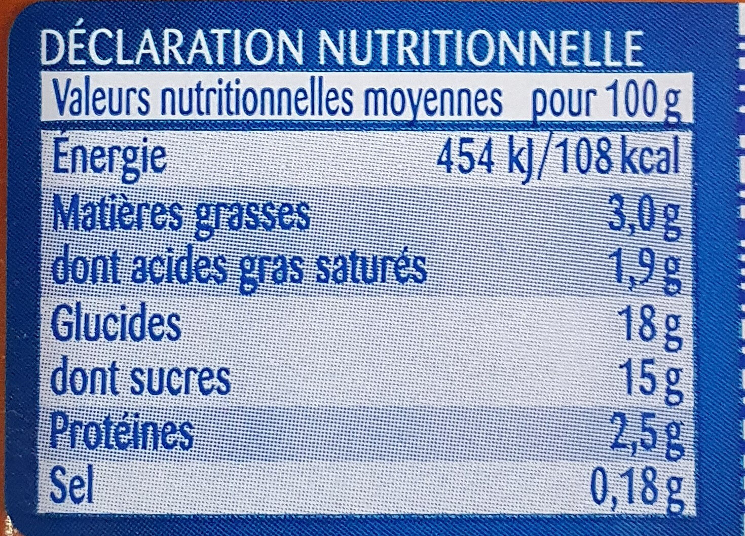 Crème dessert Caramel - Informations nutritionnelles - fr