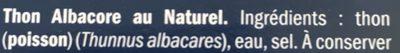Atún claro al natural - Ingredients - fr