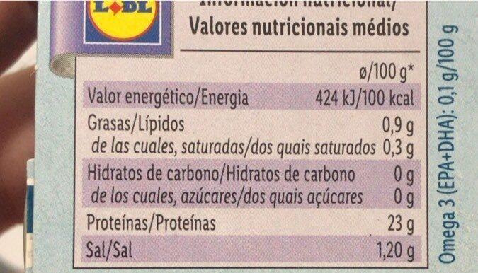 Atún claro al natural - Nutrition facts - fr