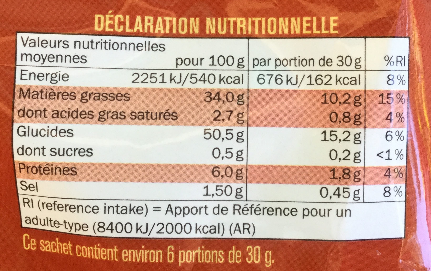 Craquante nature - Nutrition facts - fr