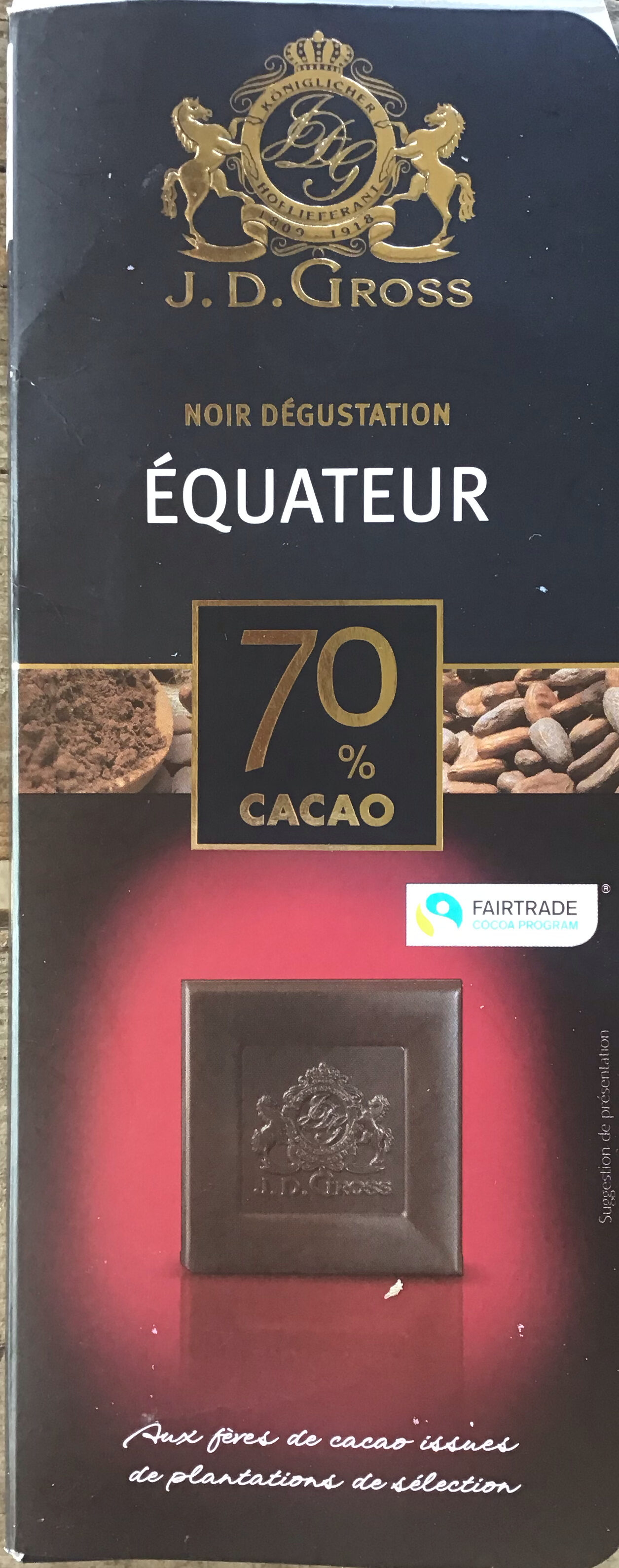 Chocolat noir dégustation 70% - Produit - fr