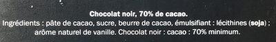 Chocolat noir dégustation 70% - Ingrédients - fr