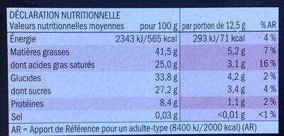Chocolat noir dégustation 70% - Informations nutritionnelles - fr