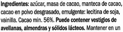 Edel-Zartbitter-Schokolade Venezuela 56% Kakao - Ingredientes - es