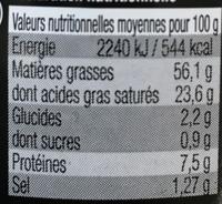 Foie gras de Canard entier - Nutrition facts