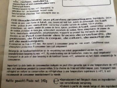 Boudais Blanc - Ingrédients - fr