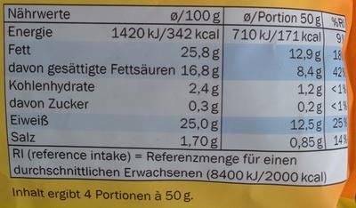 Rapé aux 3 fromages - Nährwertangaben
