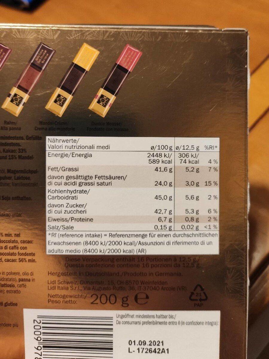 Selezione di cioccolato assortito - Informations nutritionnelles - fr