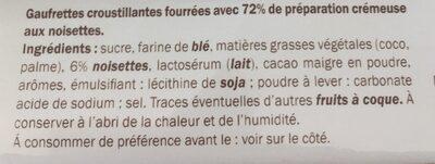 Gauffrettes choco noisette - Ingredientes - fr