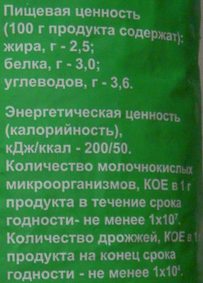 Кефир 2,5 % жира - Пищевая и энергетическая ценность - ru