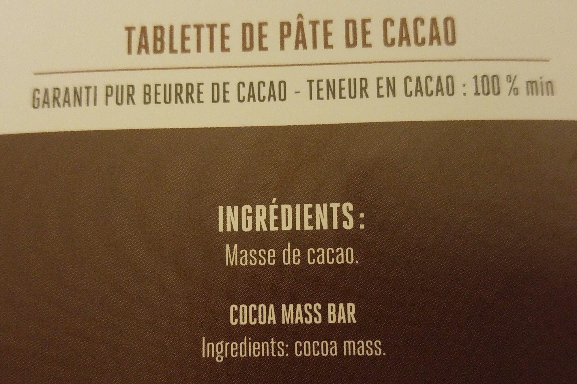 Extrême - 100% Pâte de cacao - Ingrediënten