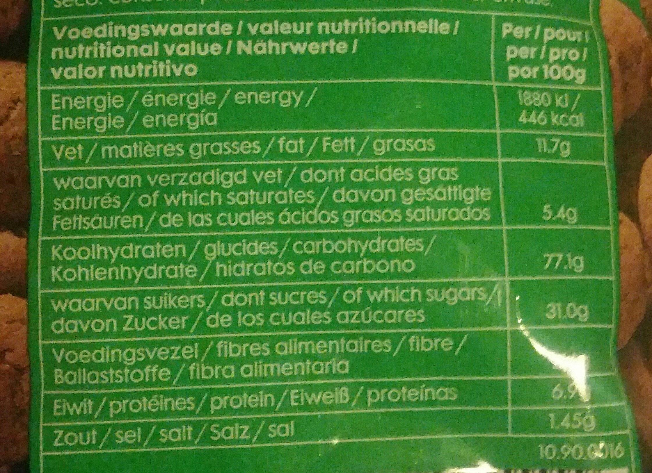 Nicolettes - Voedingswaarden - fr