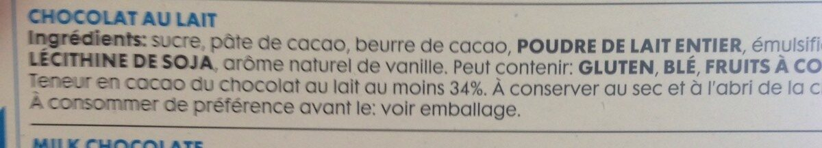 Chocolat au lait - Ingrédients