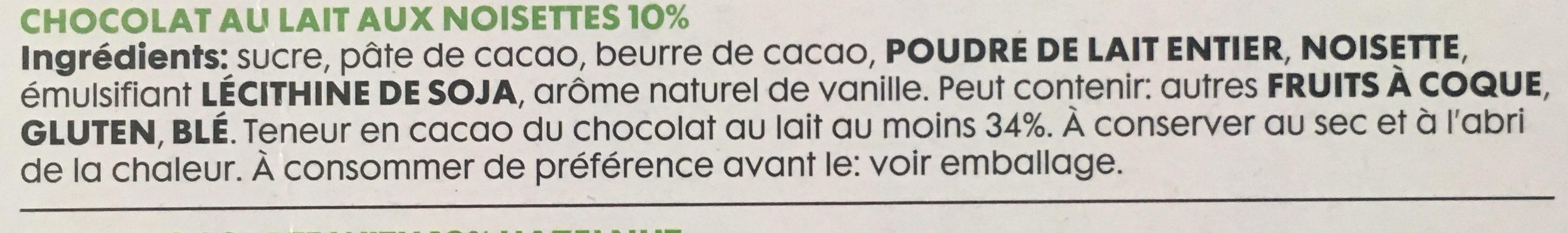 Chocolat lait noisette - Ingrédients - fr