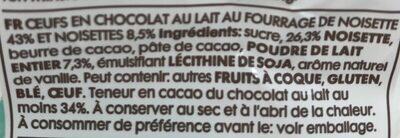 Oeuf chocolat lait - Ingredients