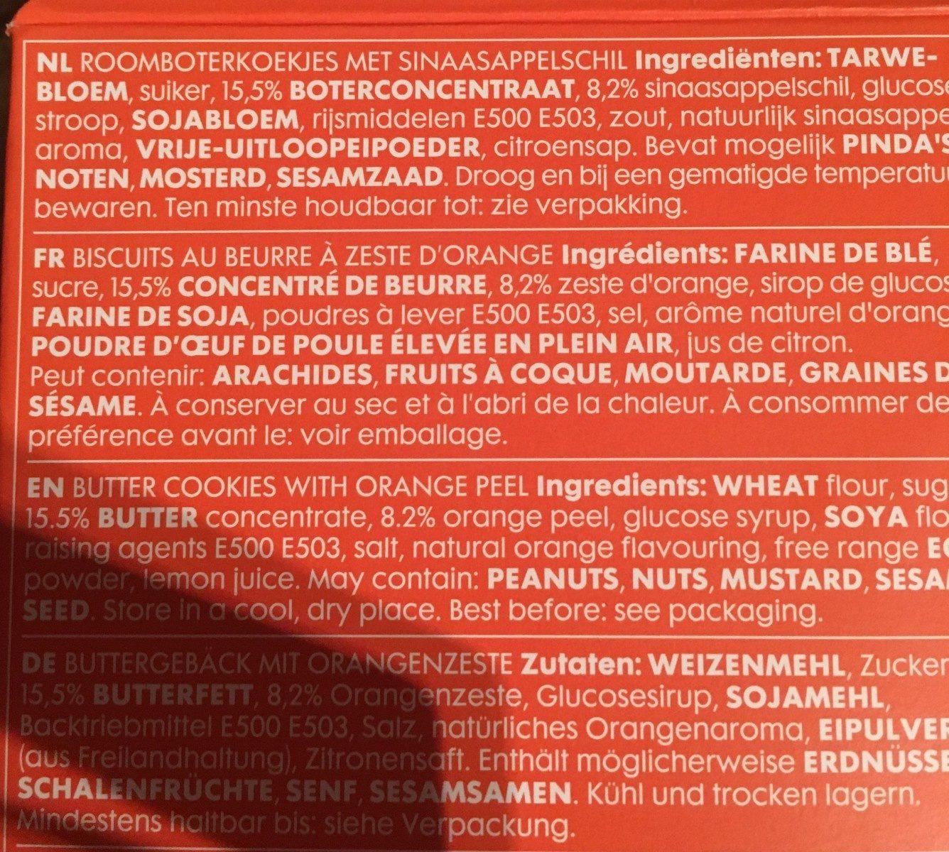 Biscuits au beurre aux pépites d'orange - Ingrédients - fr