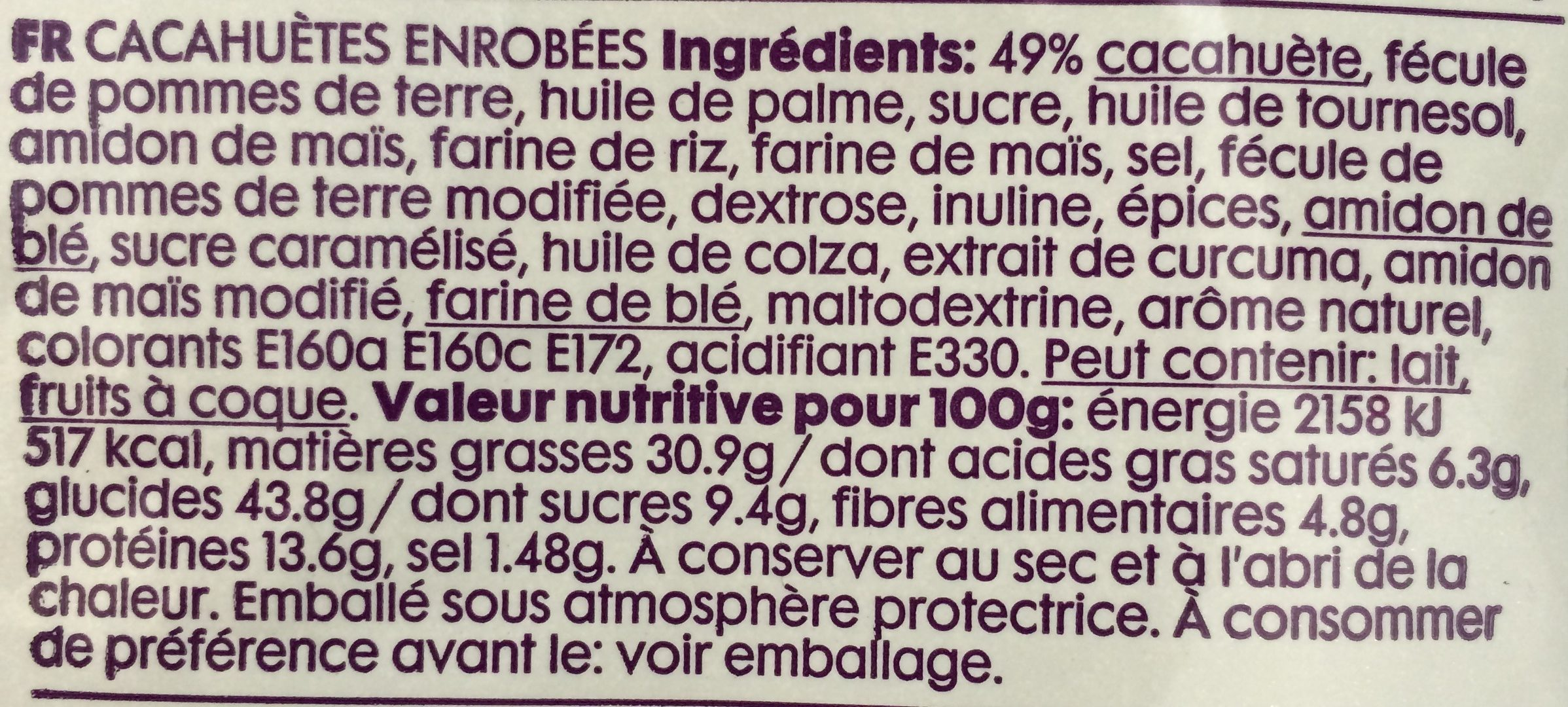 Cacahuètes enrobées - Ingrediënten