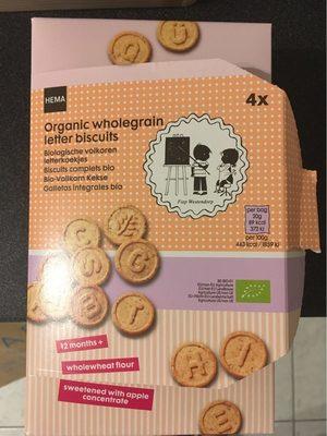 Organic wholegrain letter biscuits - Produit