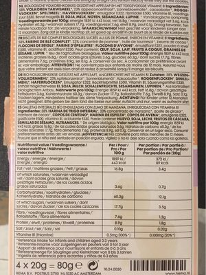 Organic wholegrain letter biscuits - Informations nutritionnelles