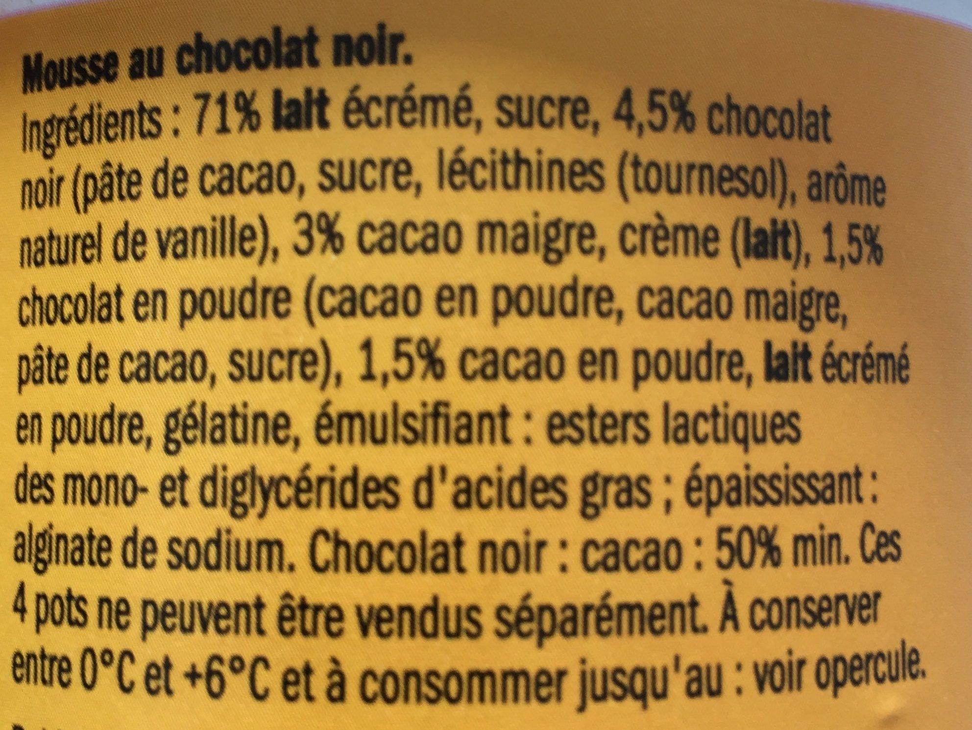 Mousse au Chocolat Noir - Ingredients