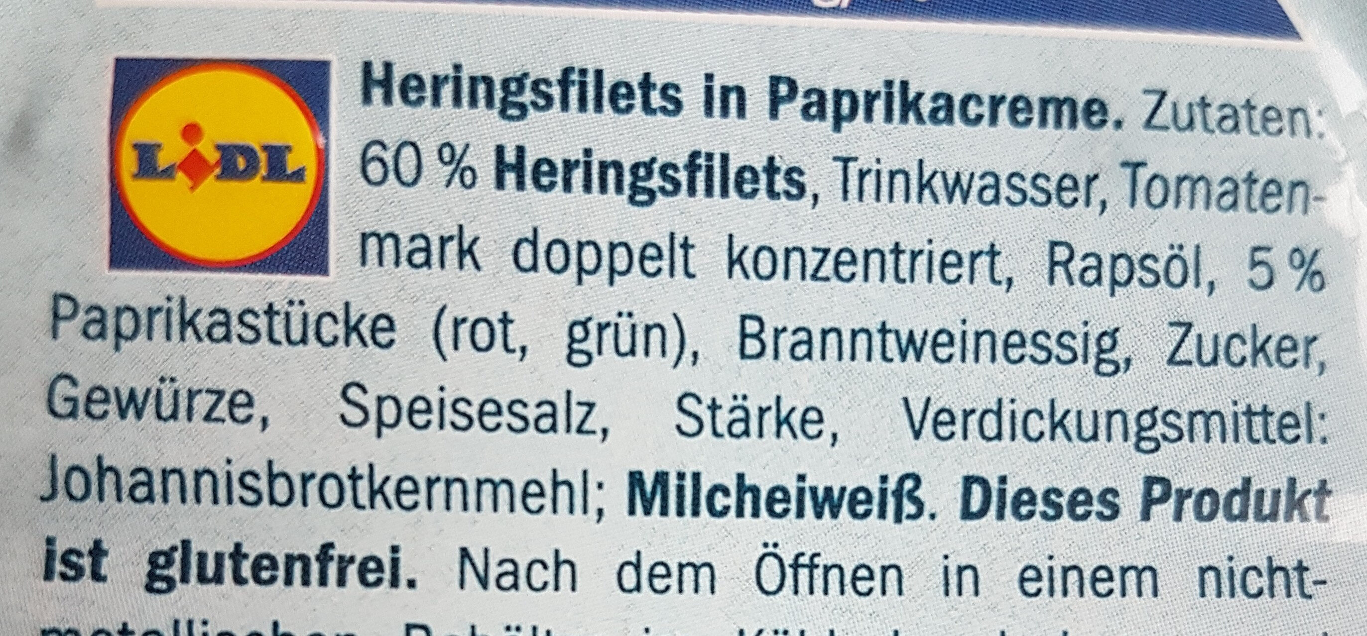 Heringsfilets in Paprikacreme - Ingredienti - de