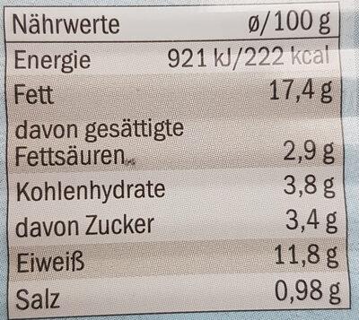 Heringsfilets in Paprikacreme - Valori nutrizionali - de