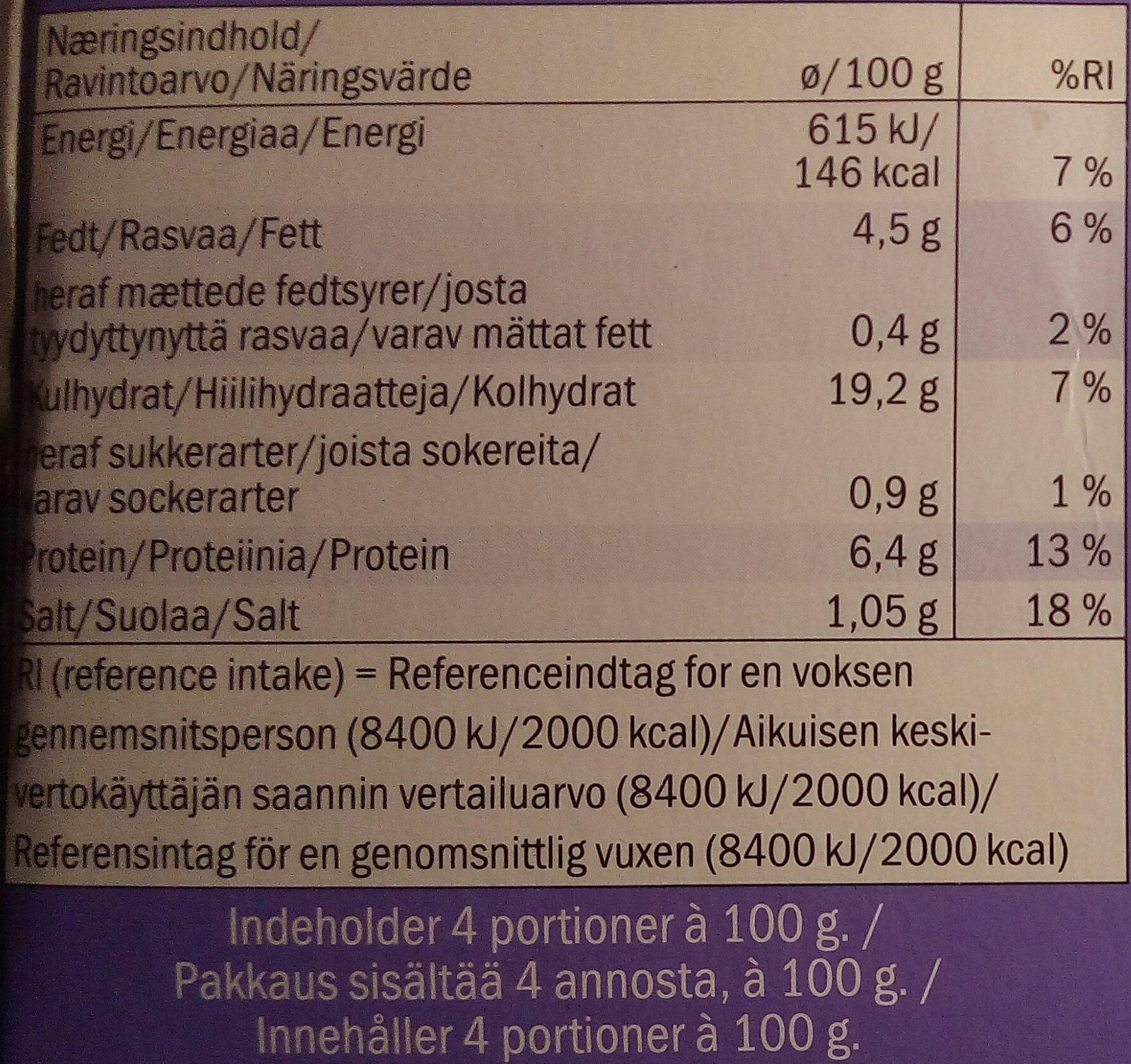Culinea 4 Spring Rolls with Chicken - Informations nutritionnelles - sv