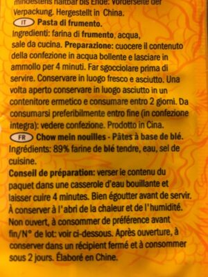 Chow Mein Noodles - Inhaltsstoffe