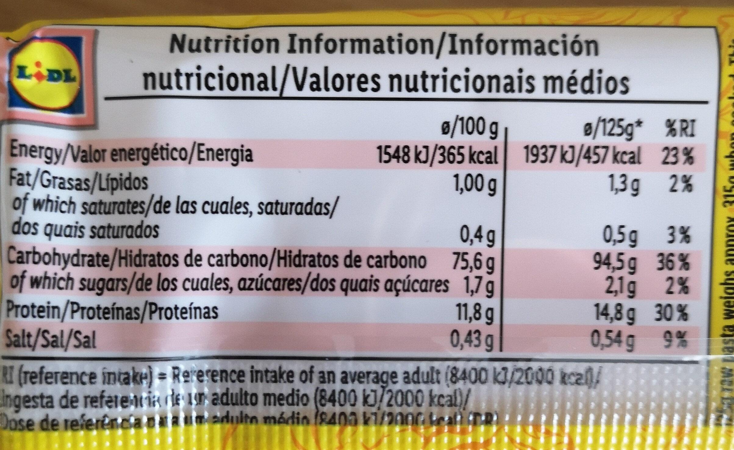 Chown mein noodles - Nutrition facts - en