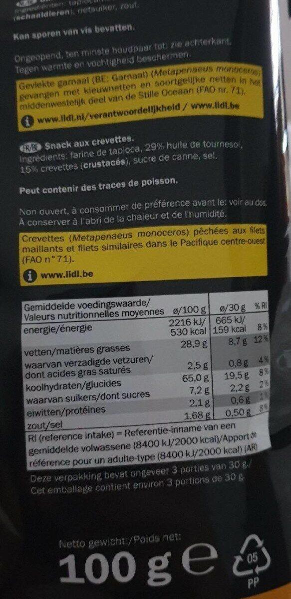 Kroepoek naturel - Informations nutritionnelles - fr
