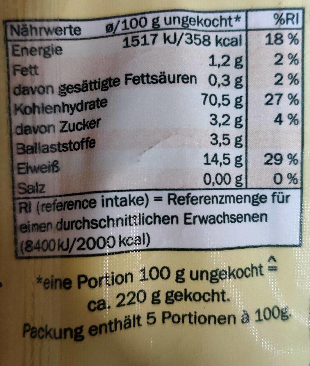 Linguine - Informations nutritionnelles