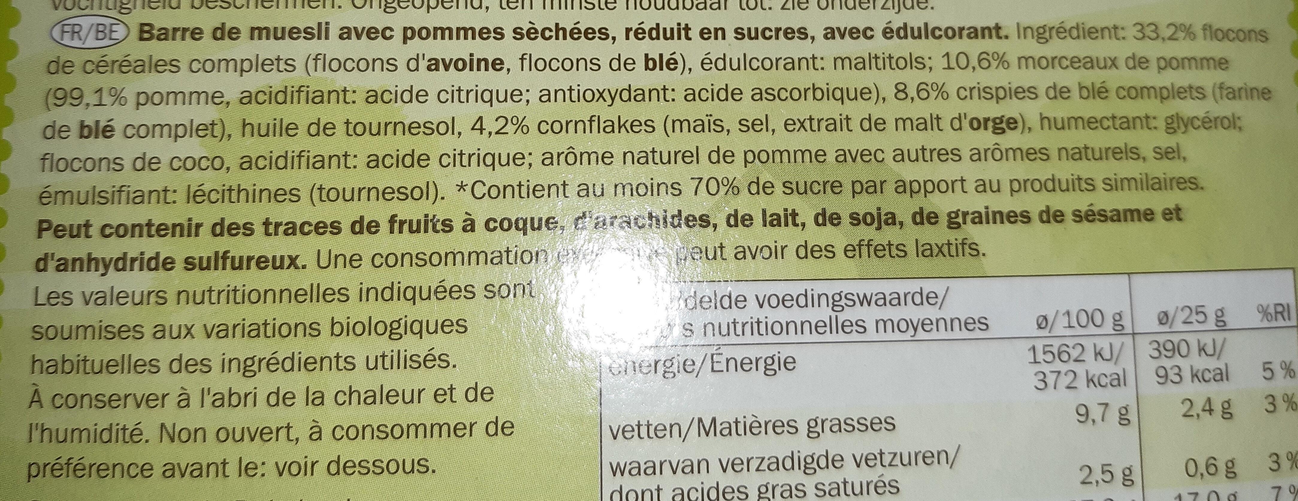 Barre de cereales pomme - Ingrédients - fr