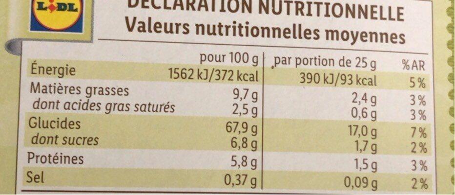 Barre de cereales pomme - Informations nutritionnelles - fr