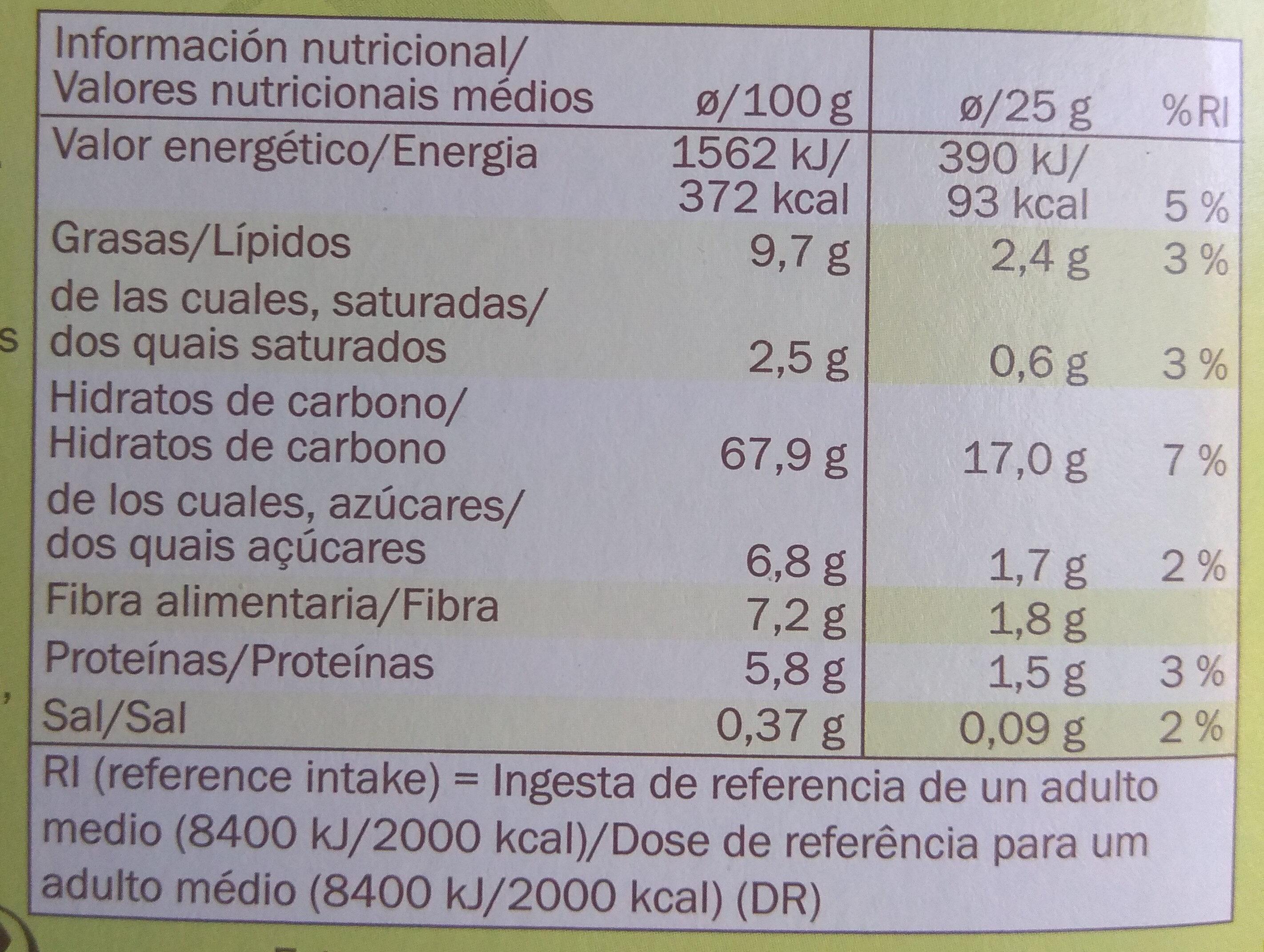 Barres céréales Pomme - Informació nutricional