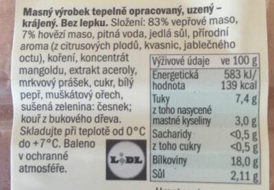 Šunkový salám - Ingredients