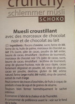 Golden Breakfast Crunchy Schlemmer Müsli, Schoko - Ingredients