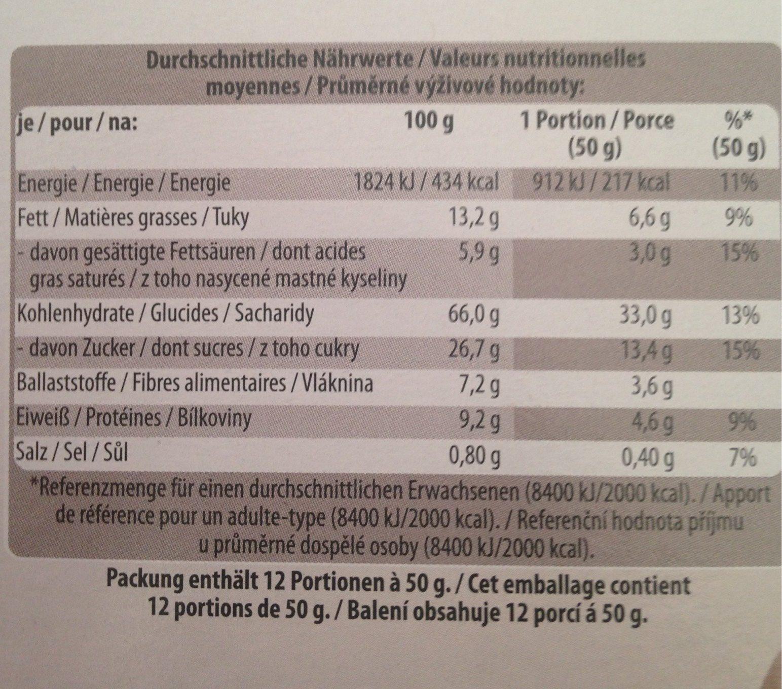 Golden Breakfast Crunchy Schlemmer Müsli, Schoko - Nutrition facts