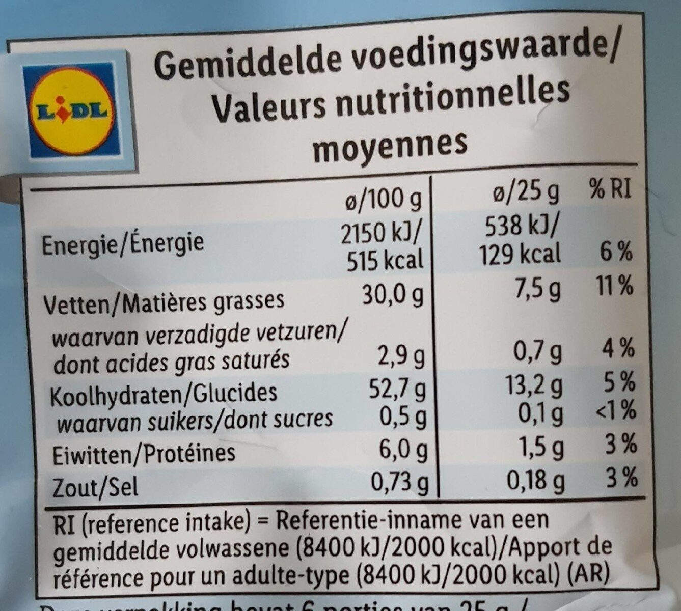 Lightly Sea Salted - Nutrition facts - fr
