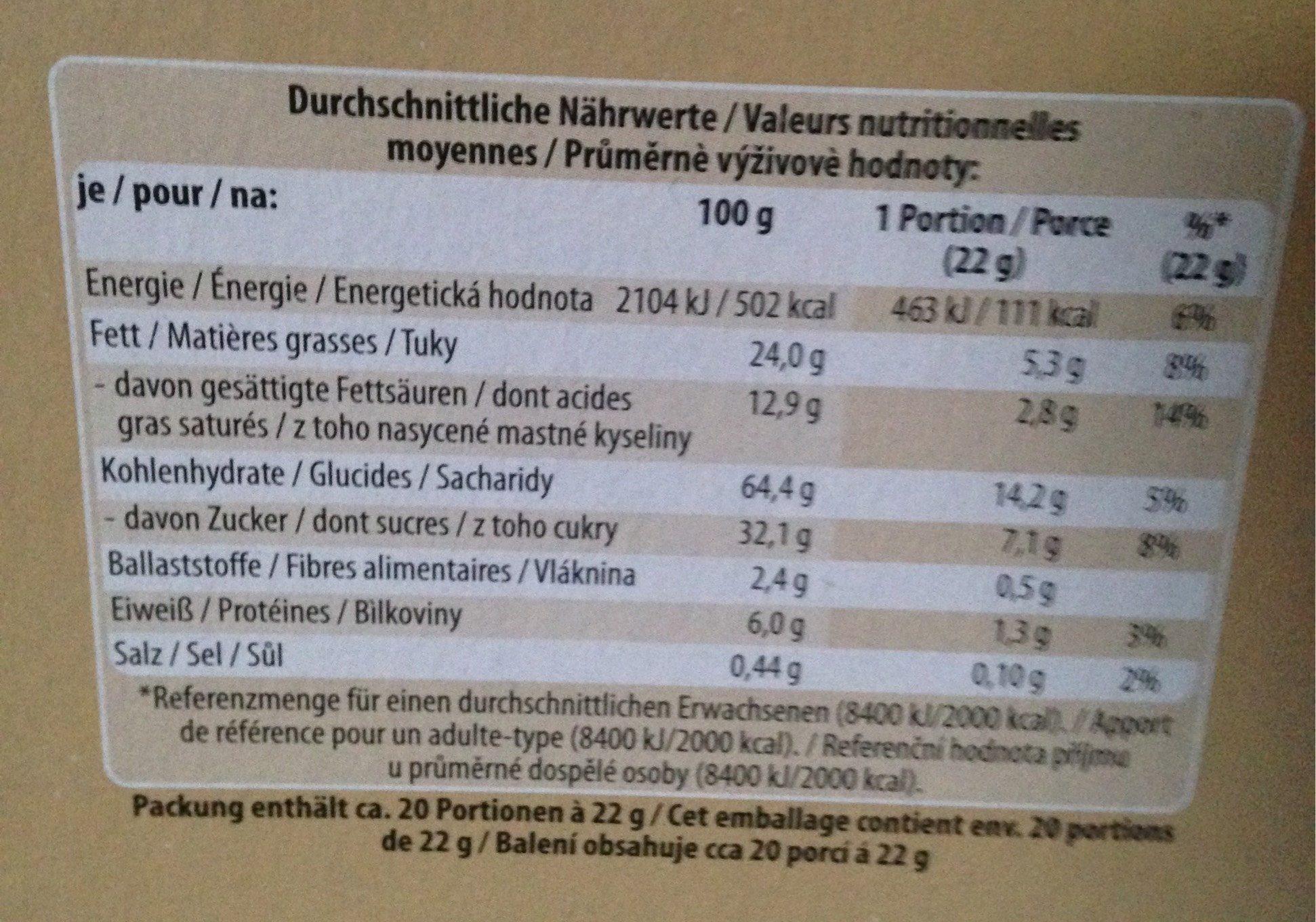 Biscuits - Valori nutrizionali - fr