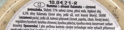 Hummus con aceitunas de Kalamata - Složení - cs