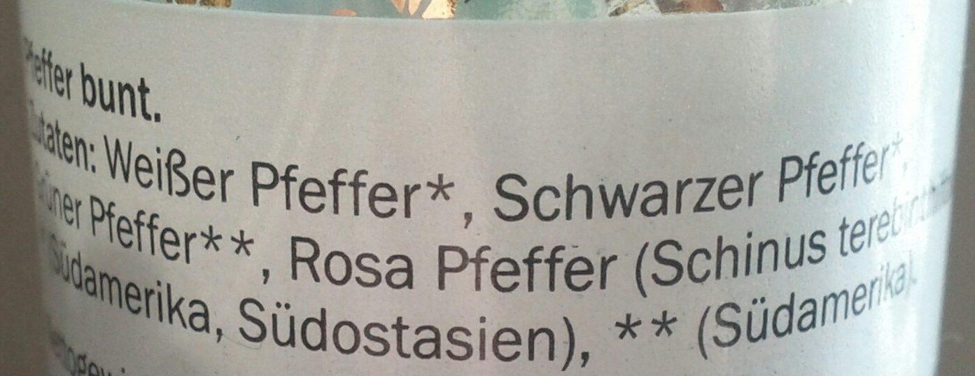 Pfeffer bunt - Ingredienti - de