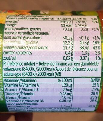 Jus multivitaminé - Nutrition facts