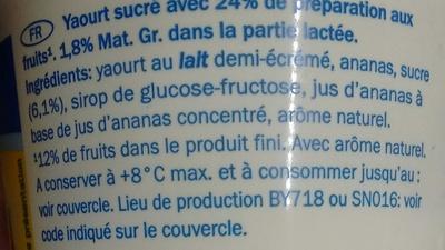 Yaourt Ananas - Ingredients