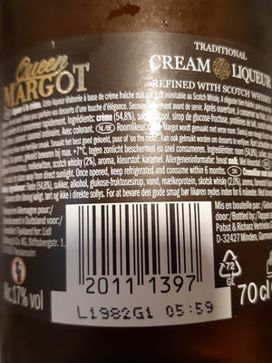Crème De Whisky, 70 Centilitres, Marque Margot - Ingredientes