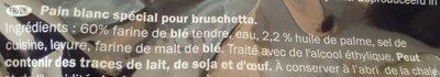Pane per Bruschetta - Ingrédients