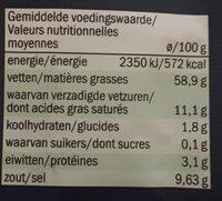 Olives vertes séchées - Informations nutritionnelles - fr