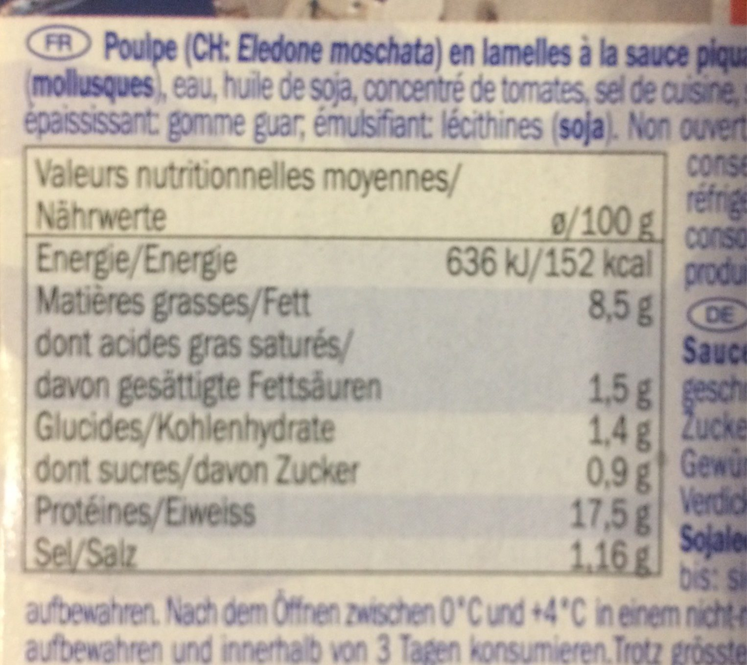 Poulpe a la sauce piquante - Nutrition facts - fr